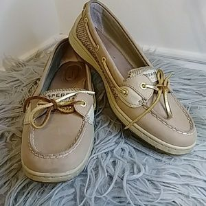 SPERRY TOP SIDER ANGELFISH LINEN/GOLD GLITTER